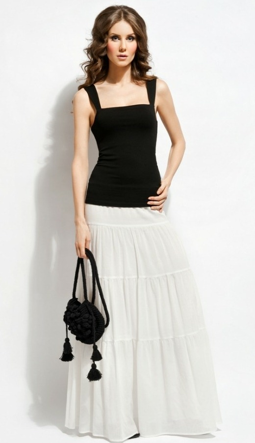 Ярусная длинная белая юбка