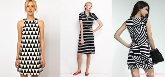 Модные летние платья 2015 - черно-белые