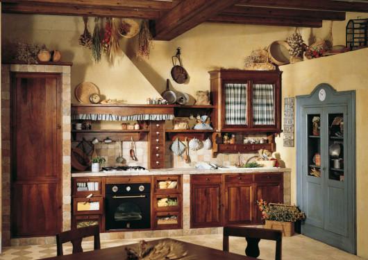 потолок кухни в деревенском стиле