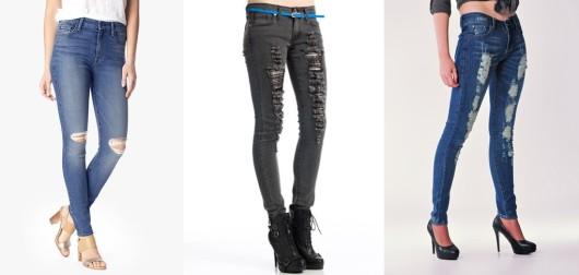 рваные джинсы под каблук