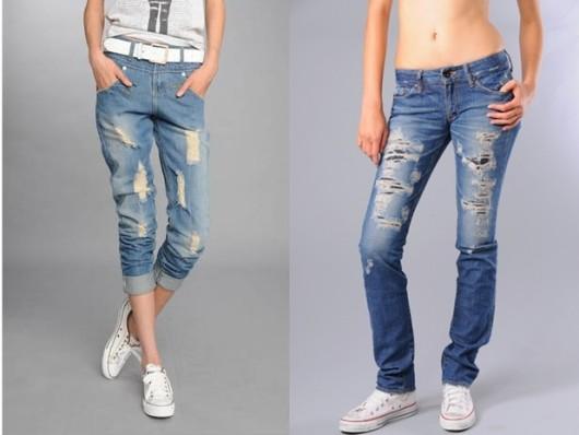 рваные джинсы в спортивном стиле