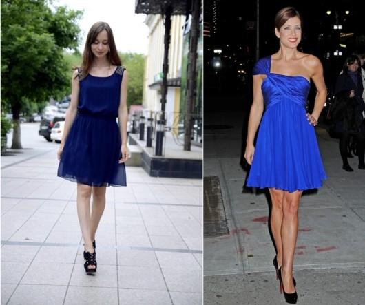 черные туфли с синим платьем