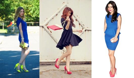 розовые и желтые туфли к синему платью