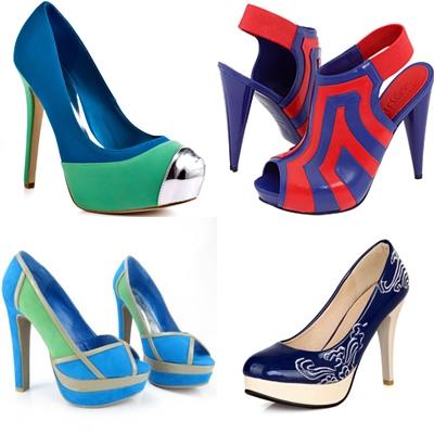 многоцветные туфли к синему платью
