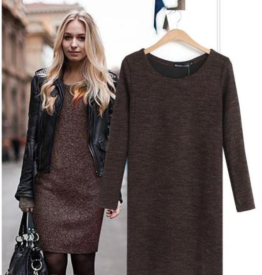 коричневое зимнее платье