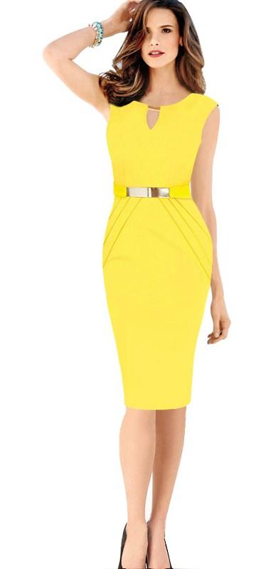 желтое летнее платье для офиса