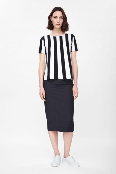черные летние платья для офиса в полоску