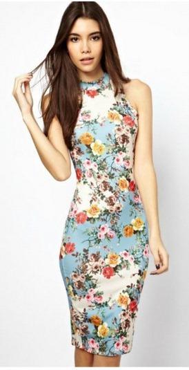 черные летние платья для офиса цветочный принт