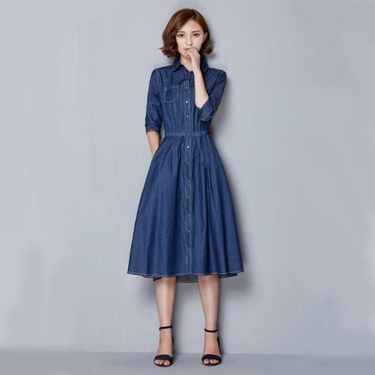 длинные джинсовые платья