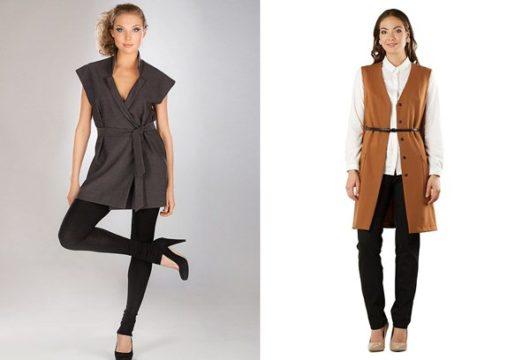С чем носить удлиненный жилет без рукавов (ФОТО)