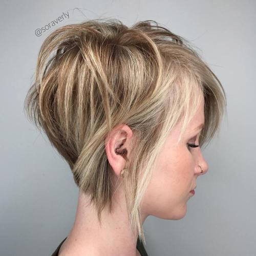 модные женские короткие стрижки на тонкие волосы - ассиметрия