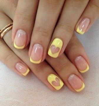 Френч цветной на короткие ногти фото