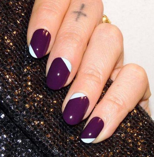 модный френч на короткие ногти