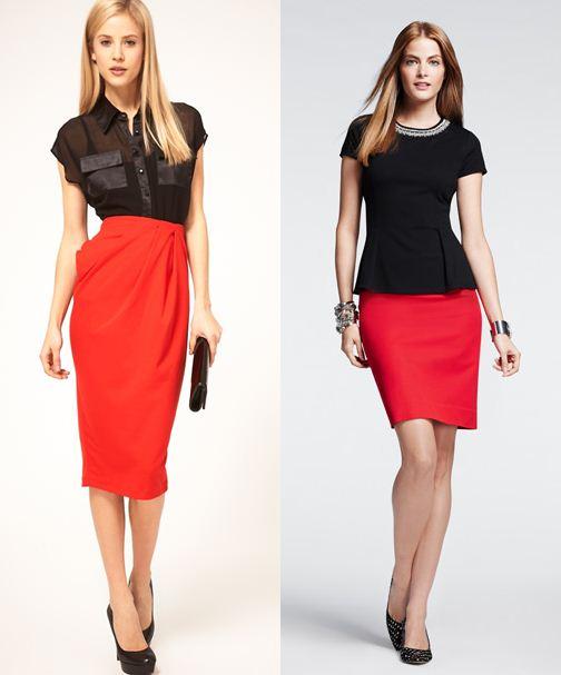 красная юбка-карандаш с чем носить