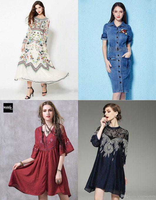 модные платья 2018 вышивка