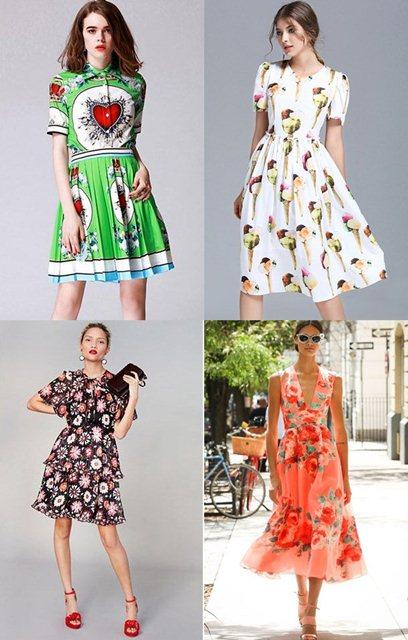 модные платья 2018 принты