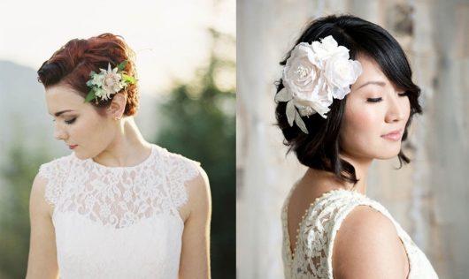 свадебные прически короткеи с цветком